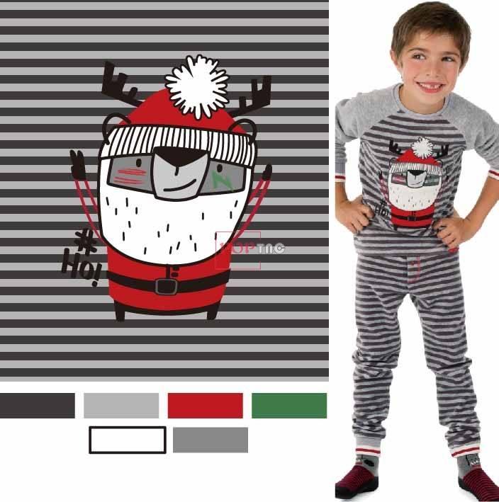 卡通圣诞老人驯鹿条子印花图案服装裁片T恤卫衣烫图印花花型素材-POP花型网