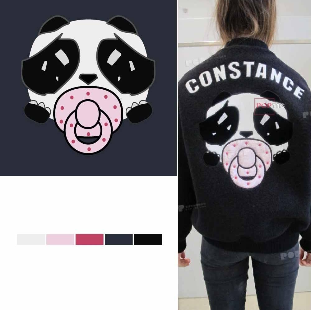 卡通动物熊猫印花图案服装裁片T恤卫衣烫图印花花型素材-POP花型网
