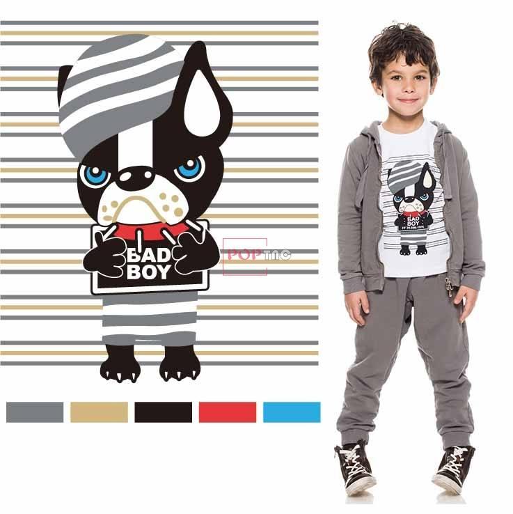 卡通动物小狗字母条子印花图案服装裁片T恤卫衣烫图印花花型素材-POP花型网