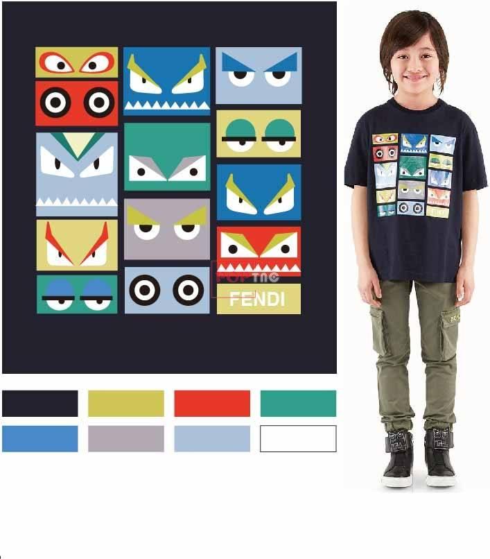 卡通脸谱图案潮牌FENDI印花图案服装裁片T恤卫衣烫图印花花型素材-POP花型网
