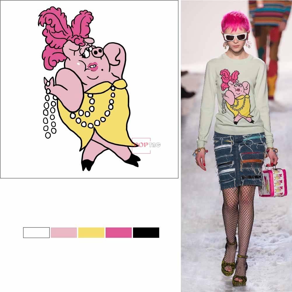 卡通人物潮牌印花图案服装裁片T恤卫衣烫图印花花型素材-POP花型网