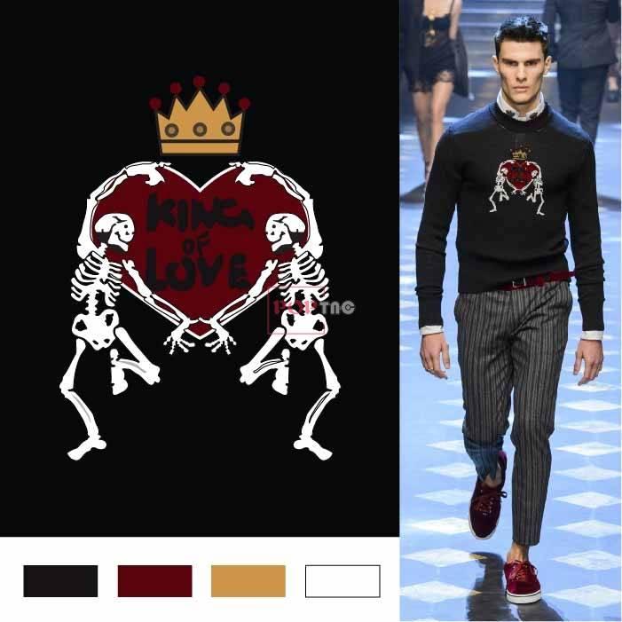 骷髅头皇冠字母潮牌印花图案服装裁片T恤卫衣烫图印花花型素材-POP花型网
