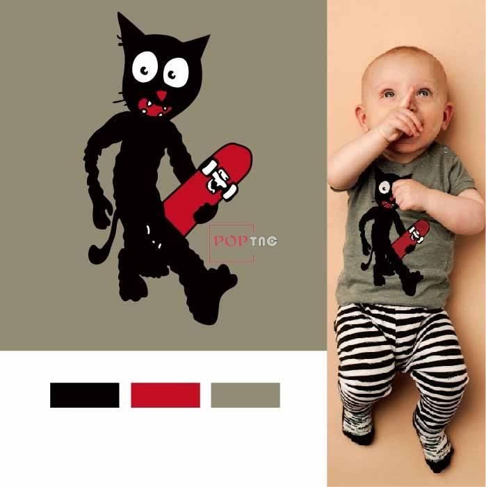卡通动物猫咪滑板印花图案服装裁片T恤卫衣烫图印花花型素材-POP花型网
