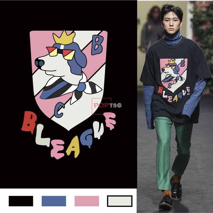 卡通动物小狗字母几何印花图案服装裁片T恤卫衣烫图印花花型素材-POP花型网