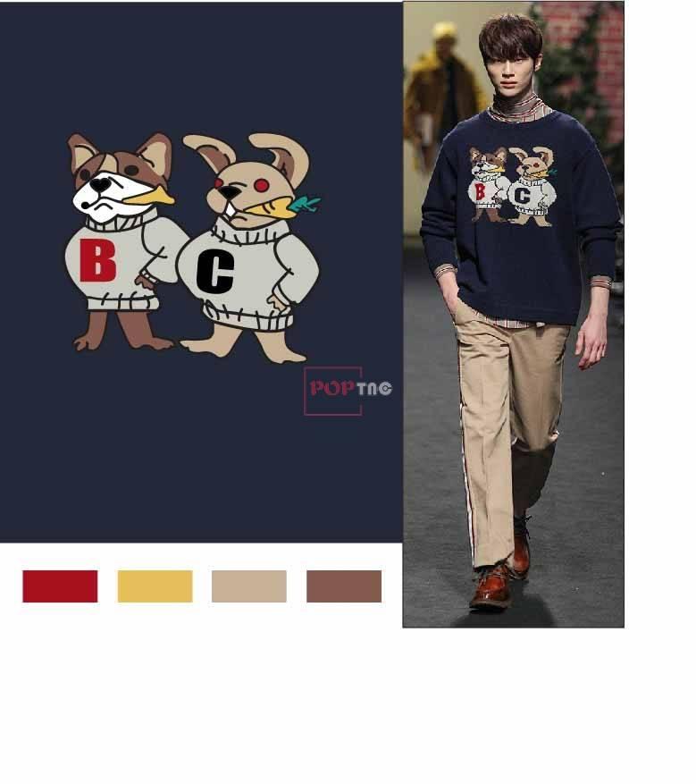 卡通动物小狗兔子印花图案服装裁片T恤卫衣烫图印花花型素材-POP花型网