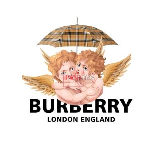 卡通天使雨伞Burberry字母印花图案服装裁片T恤卫衣烫图印花花型素材-POP花型网