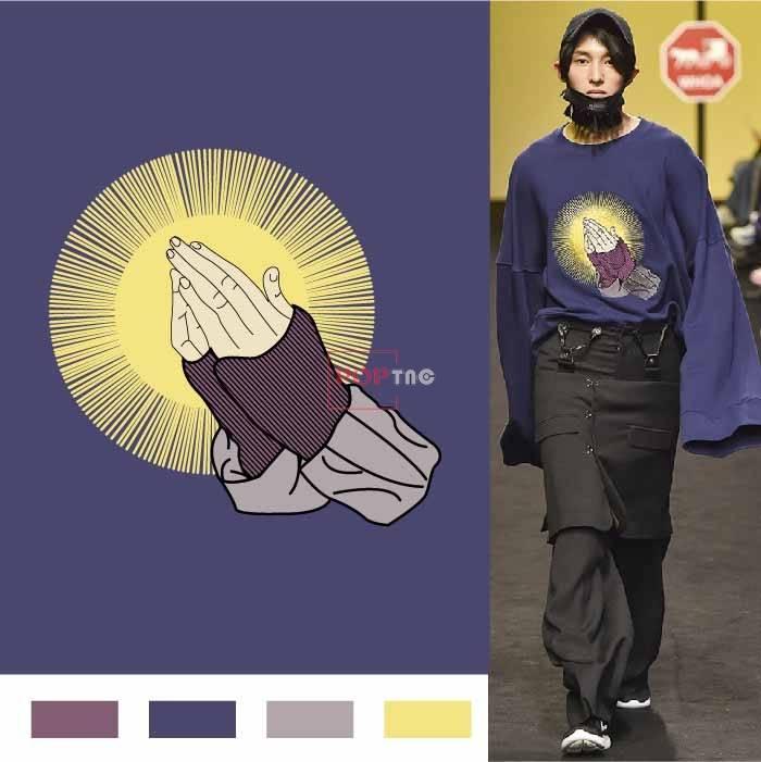几何线条图案手掌印花服装裁片T恤卫衣烫图印花花型素材-POP花型网