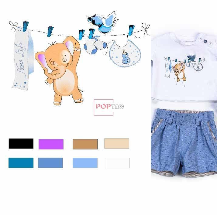 卡通图案大象印花图案服装裁片T恤卫衣烫图印花花型素材-POP花型网