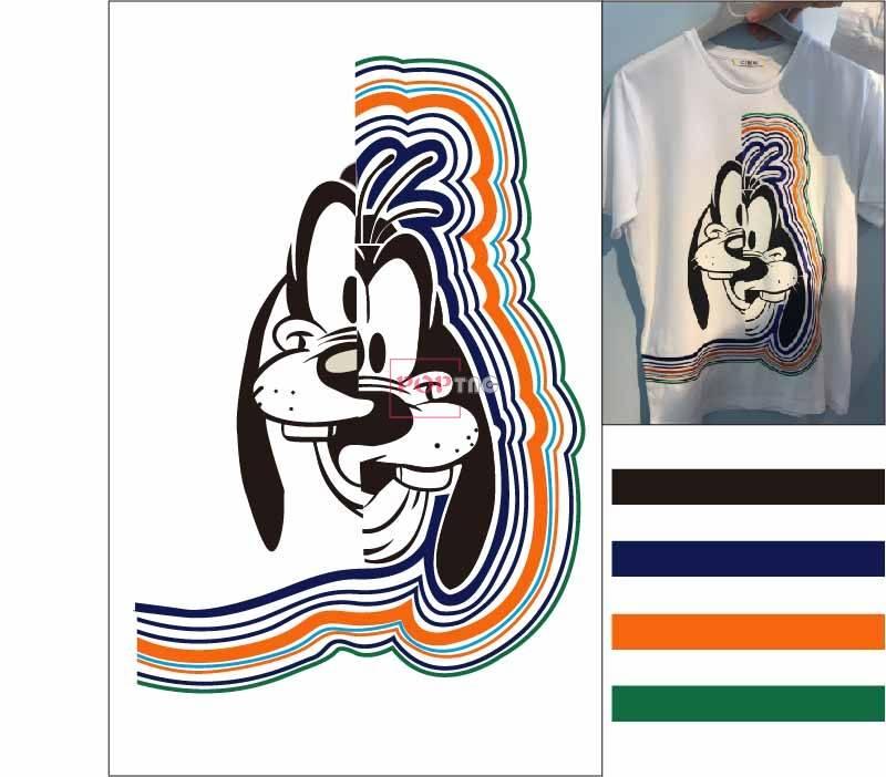 卡通动物高飞潮牌印花图案服装裁片T恤卫衣烫图印花花型素材-POP花型网