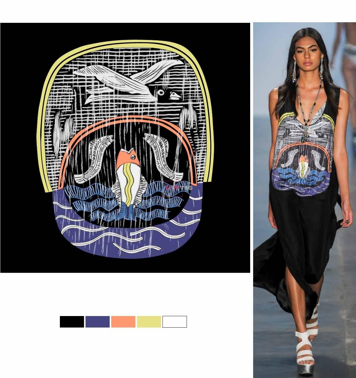 几何图案飞鸟鱼印花图案服装裁片T恤卫衣烫图印花花型素材-POP花型网