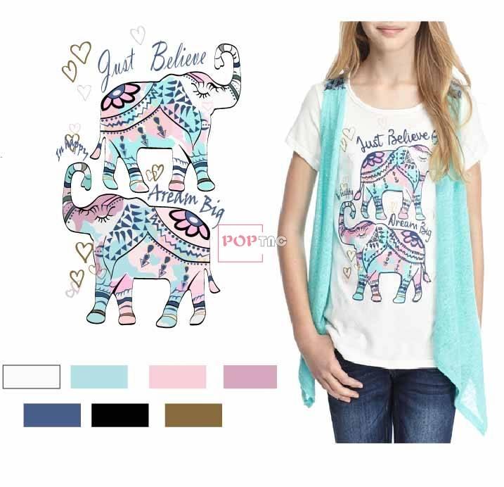 几何图案民族风大象印花图案服装裁片T恤卫衣烫图印花花型素材-POP花型网