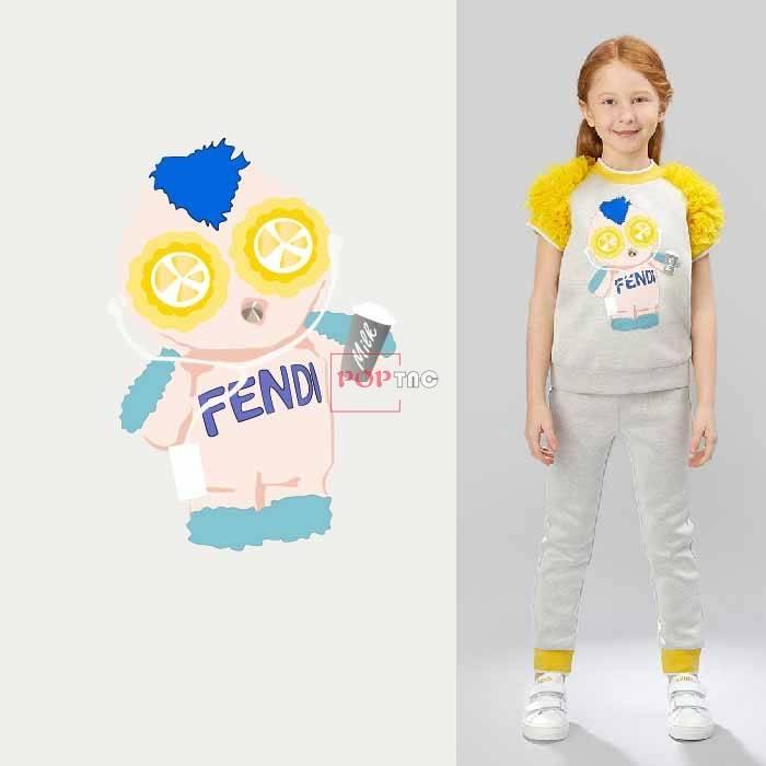 卡通玩偶FENDI潮牌印花服装裁片T恤卫衣烫图印花花型素材-POP花型网