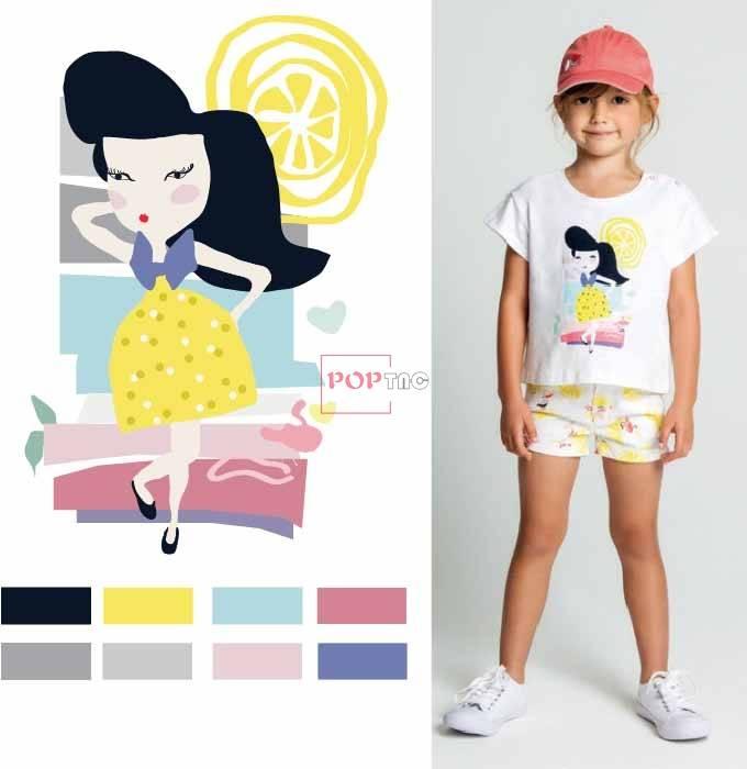 卡通女孩人物印花图案服装裁片T恤卫衣烫图印花花型素材-POP花型网