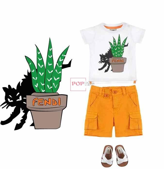 卡通动物猫咪字母FENDI印花服装裁片T恤卫衣烫图印花花型素材-POP花型网