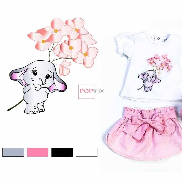 卡通动物大象植物花朵印花图案服装裁片T恤卫衣烫图印花花型素材-POP花型网