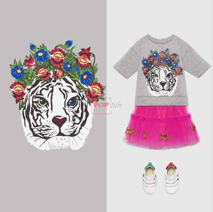 卡通动物老虎花朵印花图案服装裁片T恤卫衣烫图印花花型素材-POP花型网