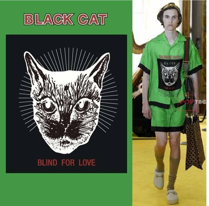 几何抽象猫咪图案印花服装裁片T恤卫衣烫图印花花型素材-POP花型网