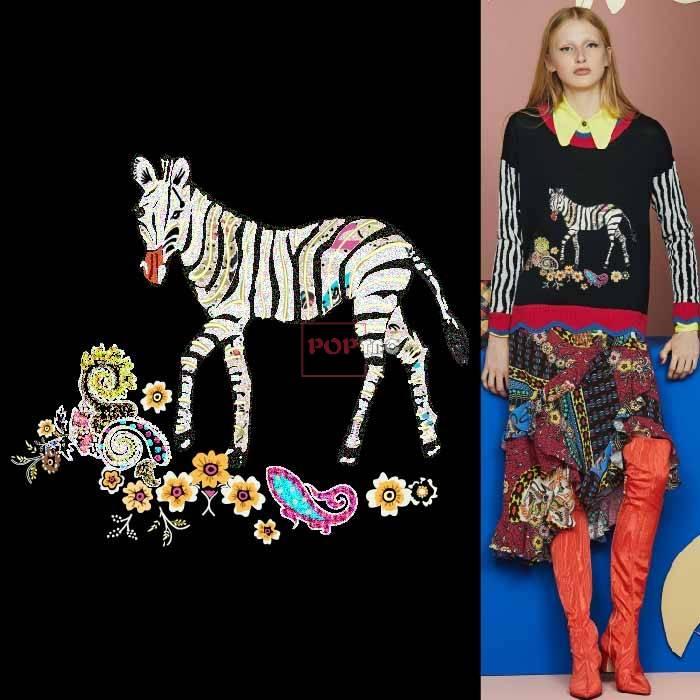 几何腰果花动物斑马印花图案服装裁片T恤卫衣烫图印花花型素材-POP花型网