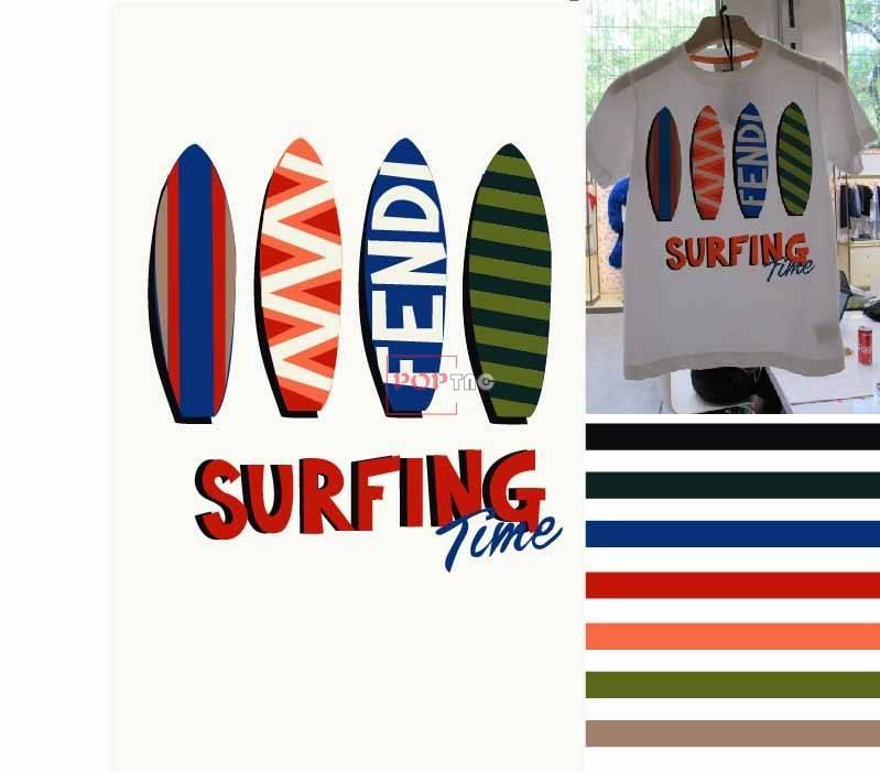 几何图案冲浪板印花服装裁片T恤卫衣烫图印花花型素材-POP花型网