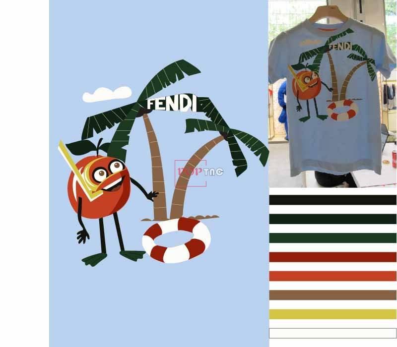 卡通椰子树救生圈图案服装裁片T恤卫衣烫图印花花型素材-POP花型网