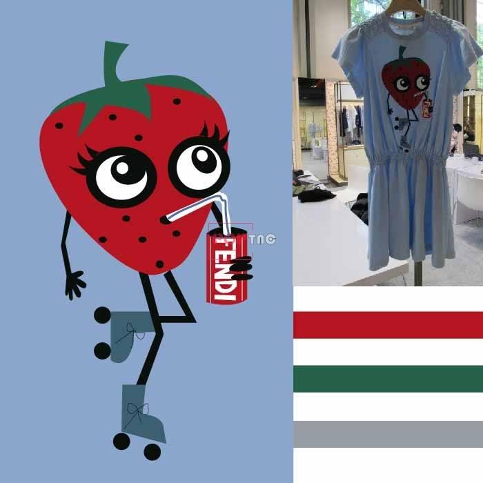卡通草莓印花图案服装裁片T恤卫衣烫图印花花型素材-POP花型网