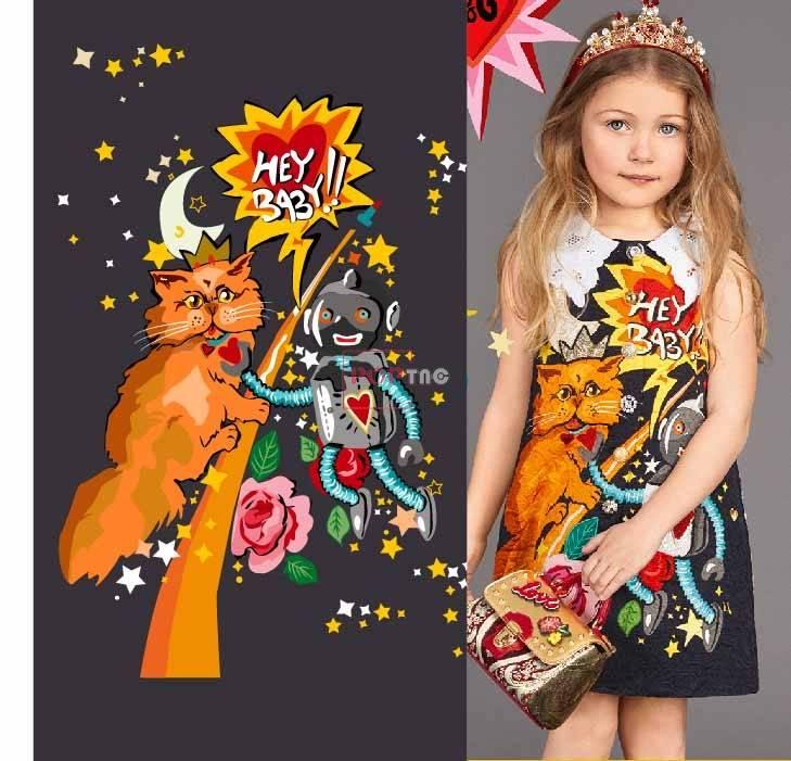 卡通动物猫咪机器人印花图案服装裁片T恤卫衣烫图印花花型素材-POP花型网