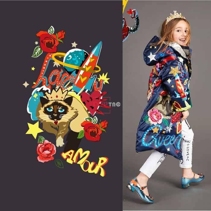 卡通动物猫咪字母火箭玫瑰花印花图案服装裁片T恤卫衣烫图印花花型素材-POP花型网