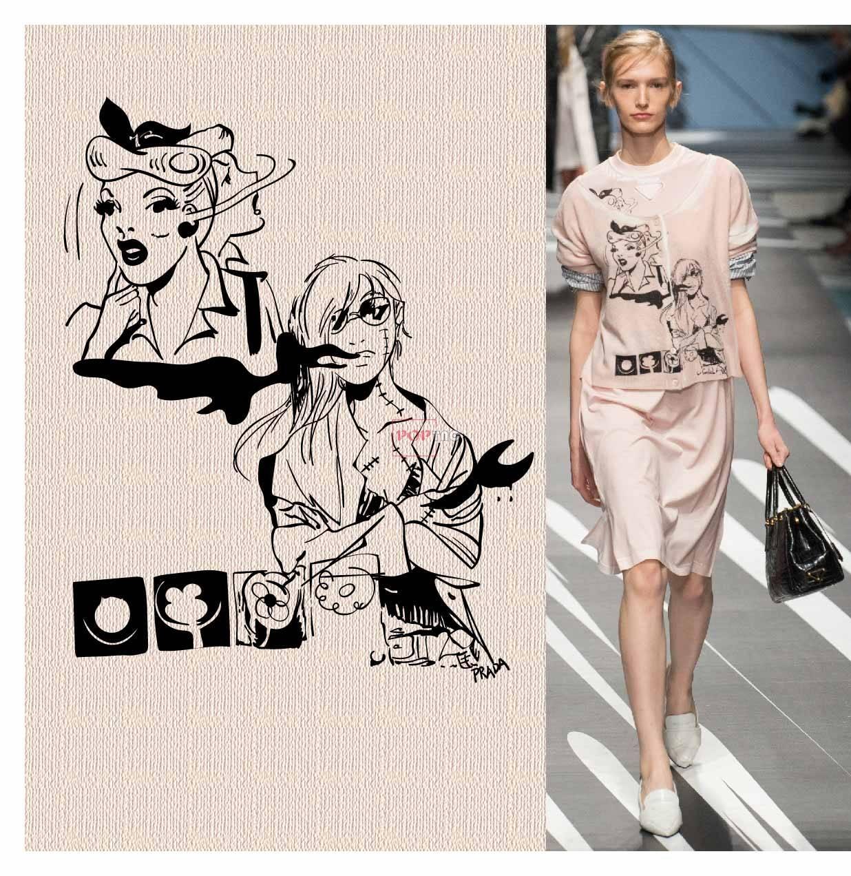 女士人物印花图案服装裁片T恤卫衣烫图印花花型素材-POP花型网