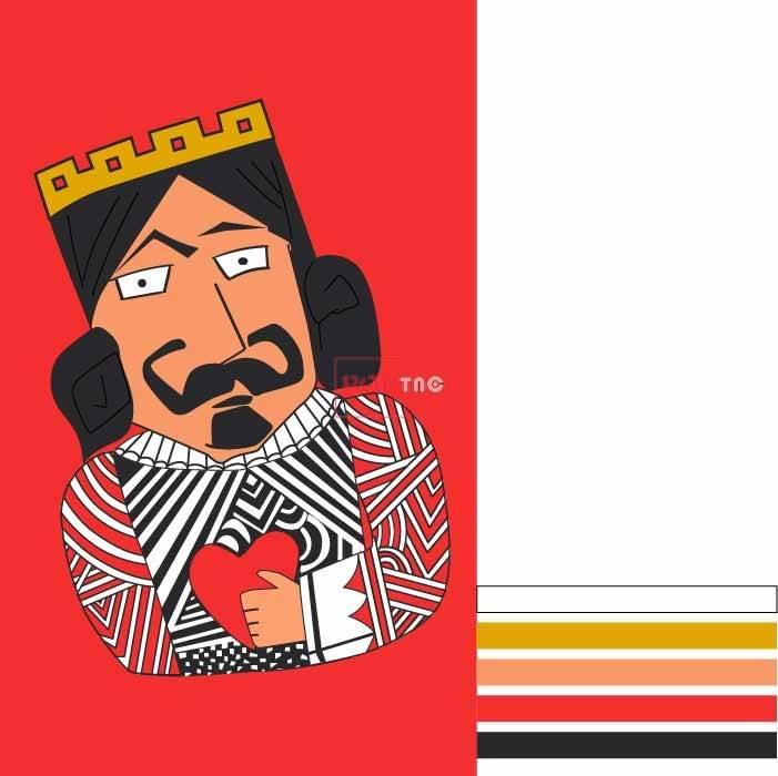 卡通人物国王印花图案服装裁片T恤卫衣烫图印花花型素材-POP花型网