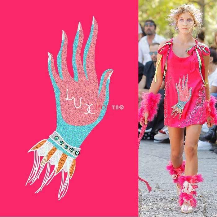 几何手掌印花图案服装裁片T恤卫衣烫图印花花型素材-POP花型网