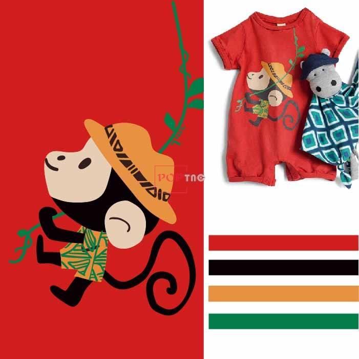 卡通动物大嘴猴印花图案服装裁片T恤烫图印花花型素材-POP花型网