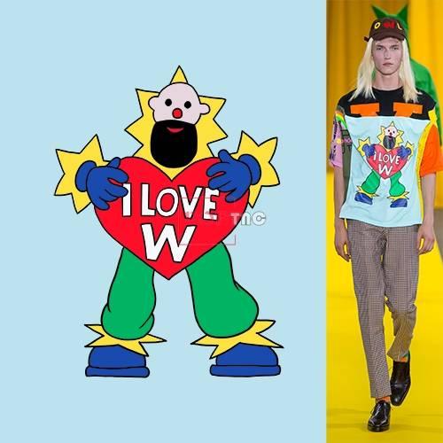 卡通人物图案爱心字母印花图案服装裁片T恤卫衣烫图印花花型素材-POP花型网