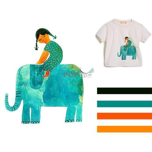 卡通动物大象小女孩印花图案服装裁片T恤卫衣烫图印花花型素材-POP花型网