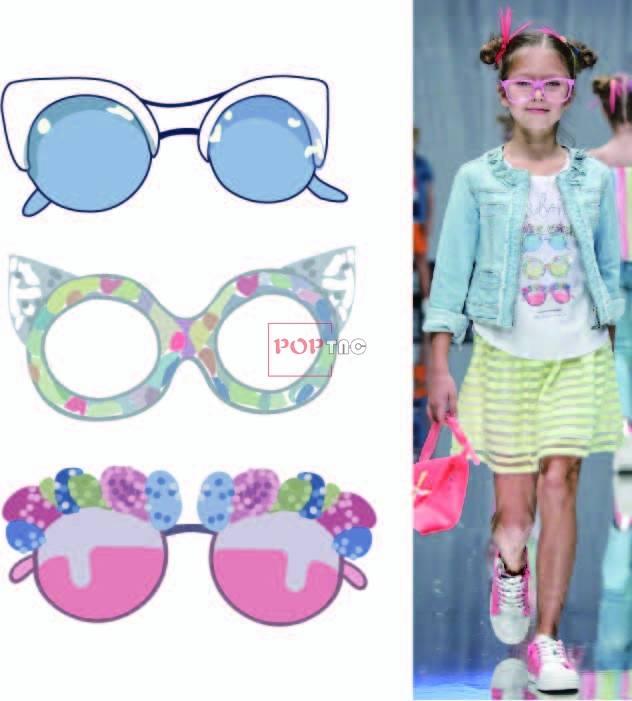 卡通眼镜印花图案服装裁片T恤卫衣烫图印花花型素材-POP花型网
