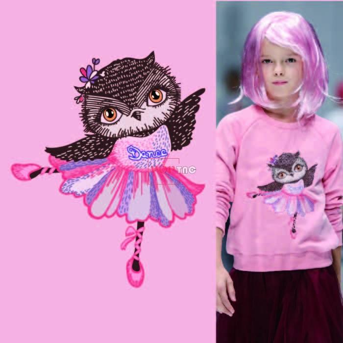 卡通动物猫头鹰印花图案服装裁片T恤卫衣烫图印花花型素材-POP花型网