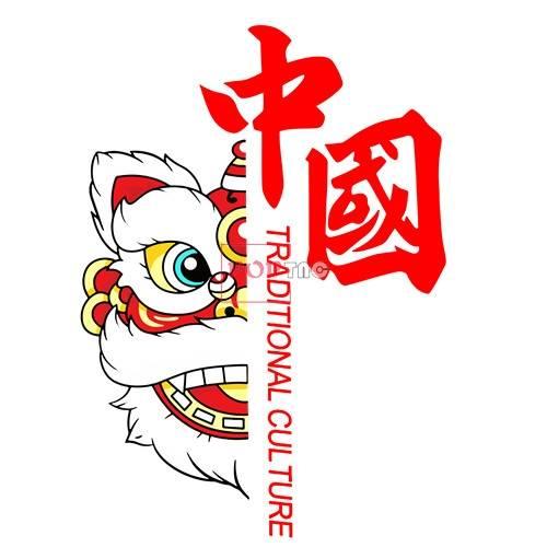 中国风花纹舞狮印花图案服装裁片T恤卫衣烫图印花花型素材-POP花型网