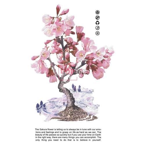 中国李宁桃花字母印花图案服装裁片T恤卫衣烫图印花花型素材-POP花型网