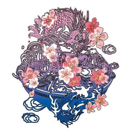 中国李宁龙桃花印花图案服装裁片T恤卫衣烫图印花花型素材-POP花型网