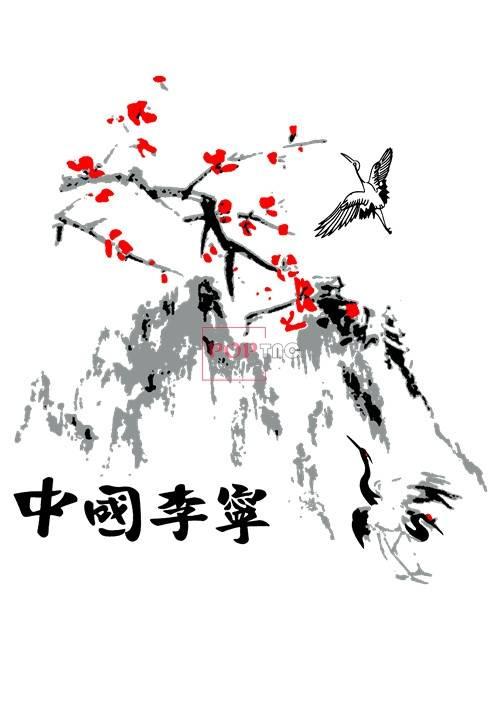 中国李宁水墨仙鹤傲梅印花图案服装裁片T恤卫衣烫图印花花型素材-POP花型网
