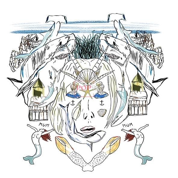 抽象人物美人鱼印花图案服装裁片T恤卫衣烫图印花花型素材-POP花型网