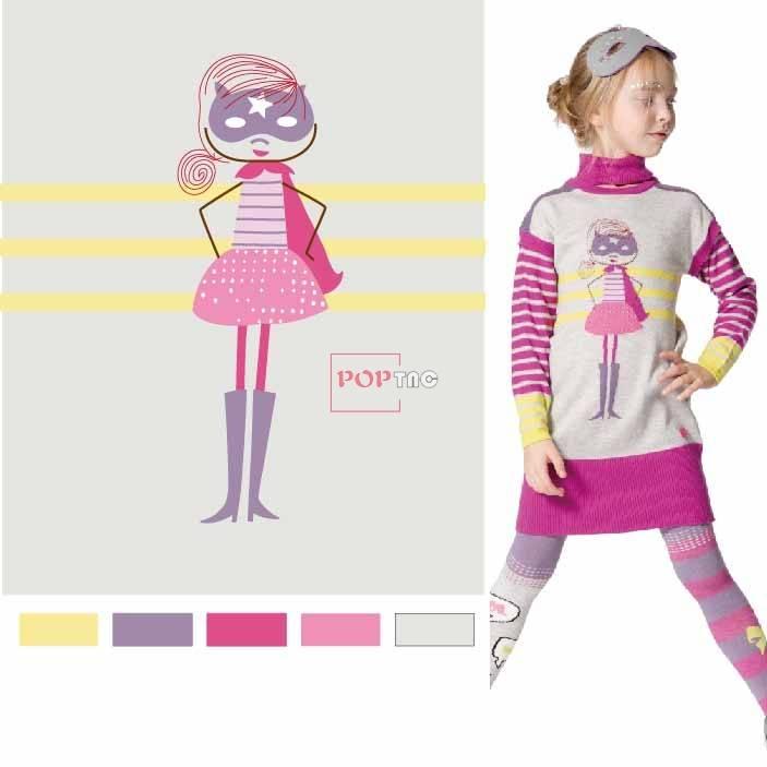 卡通人物狐狸印花图案服装裁片T恤卫衣烫图印花花型素材-POP花型网