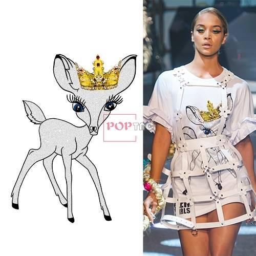 动物小鹿皇冠印花图案服装裁片T恤卫衣烫图印花花型素材-POP花型网
