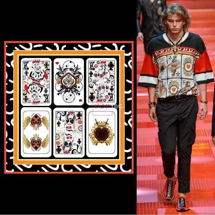 几何图案扑克牌印花服装裁片T恤卫衣烫图印花花型素材-POP花型网