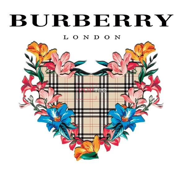 潮牌BURBERRY格子花朵印花图案服装裁片T恤卫衣烫图印花花型素材-POP花型网