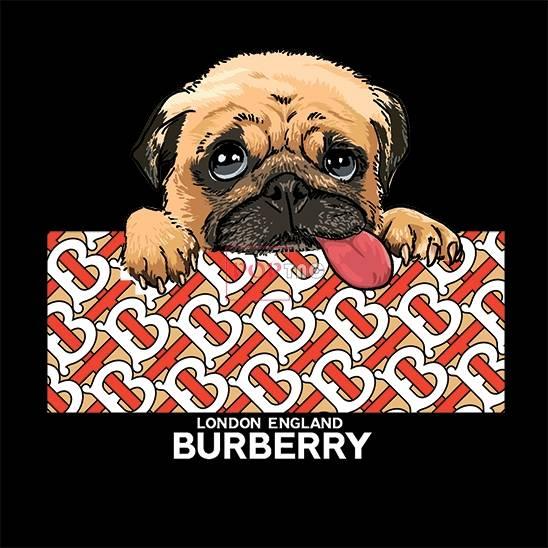 潮牌BURBERRY小狗印花图案服装裁片T恤卫衣烫图印花花型素材-POP花型网