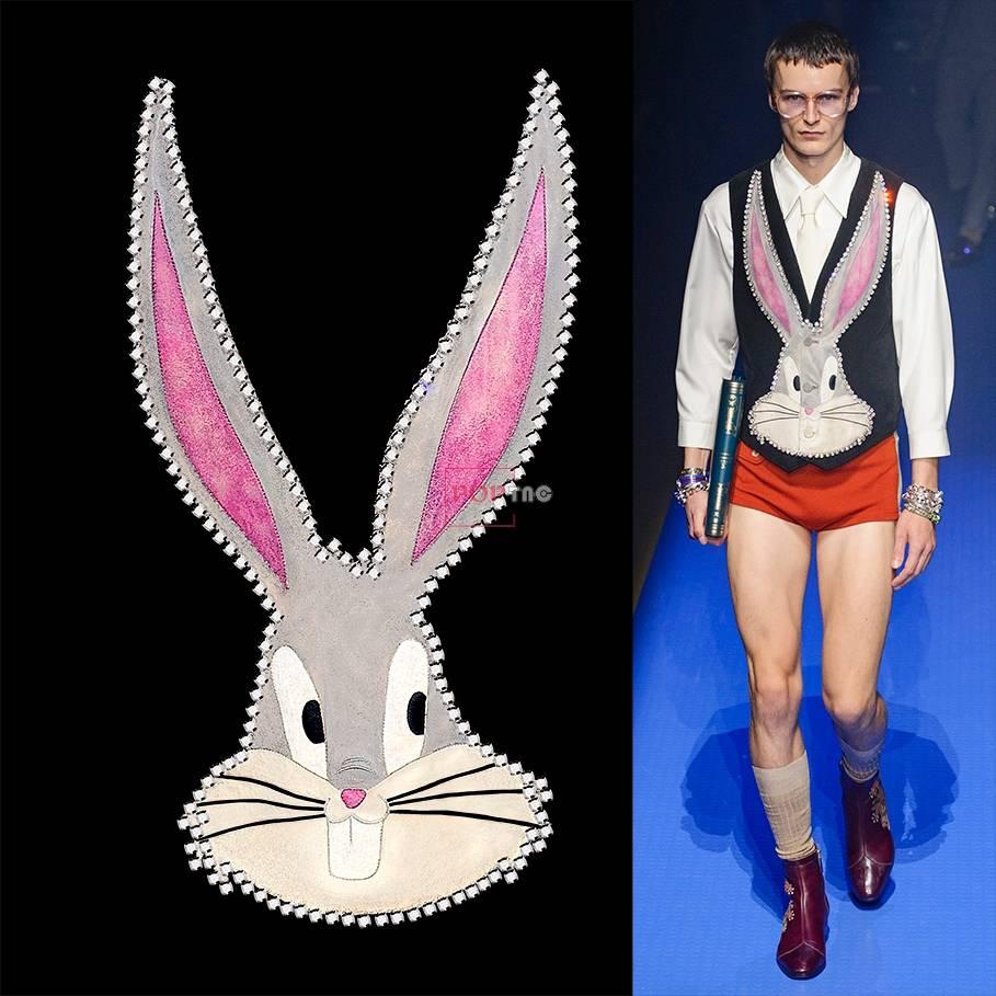 卡通动物流氓兔印花图案服装裁片T恤卫衣烫图印花花型素材-POP花型网
