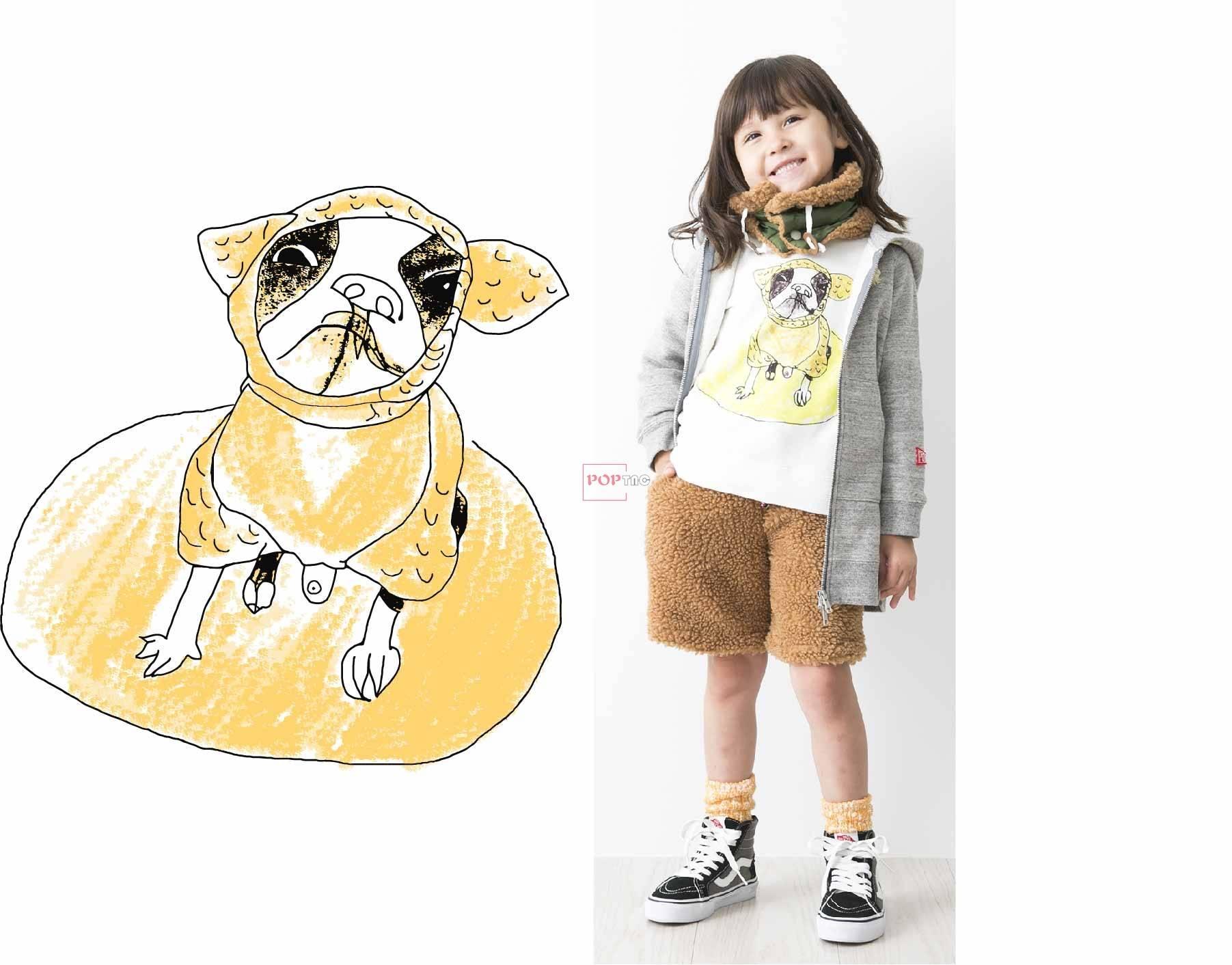 卡通动物小狗印花图案服装裁片T恤卫衣烫图印花花型素材-POP花型网