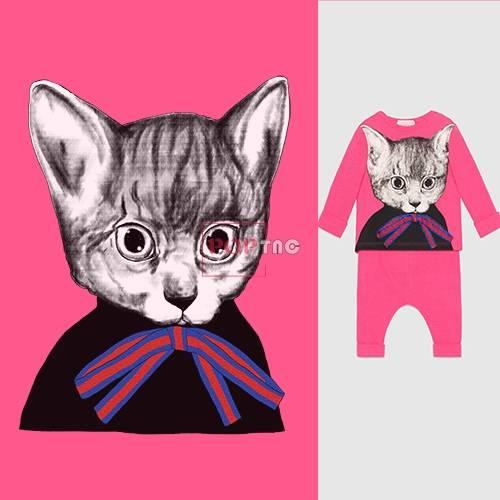 卡通猫咪蝴蝶结印花图案服装裁片T恤卫衣烫图印花花型素材-POP花型网