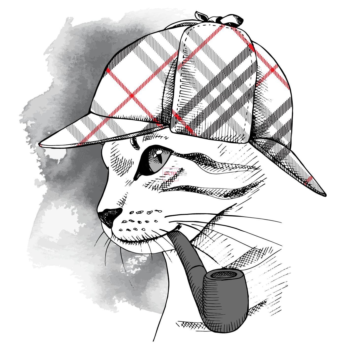卡通动物猫咪烟斗印花图案服装裁片T恤卫衣烫图印花花型素材-POP花型网