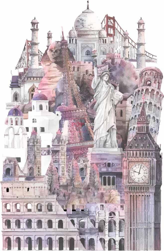 几何建筑狮身人面兽自由女神印花图案服装裁片T恤卫衣烫图印花花型素材-POP花型网